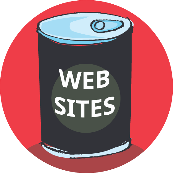 Tin with a Websites label